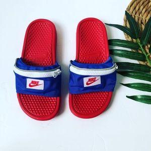 NWOT Nike Benassi Red/White/Blue Fanny Pack Slides